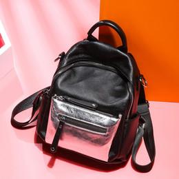 2019 использованные сумки из натуральной кожи Silver Panelled Fashion Women Bagpack Daul-use  Quality Ladies Backpack 100% Genuine Leather Teenager Girl School Bag скидка использованные сумки из натуральной кожи