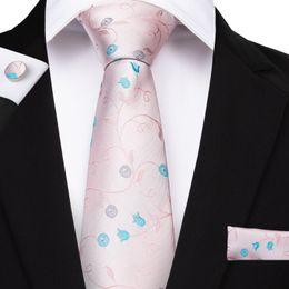 2019 seda preciosa Hi-Tie Lovely Pink Pink Floral para hombre Corbata 100% seda hecho a mano Navidad Corbata 150cm Corbata Hanky Gemelos Weeding Partido Lazo seda preciosa baratos