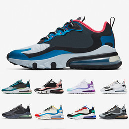 Nike Air max 270 react shoes airmax react 270 mens running shoes Bleached Coral Dusk Purple Grey and Orange In My Feels Bauhaus triple black men women