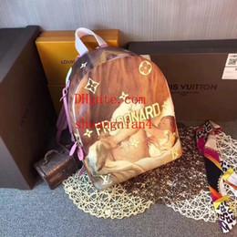 Argentina Moda Mochila Mujer Multicolor Unisex Mochila de alta capacidad Adolescentes ocasionales Estilo lindo Pintura famosa patrón Bolsas de hombro c-l4 cheap painted backpacks Suministro
