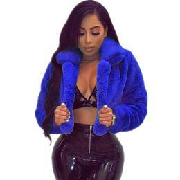 casaco curto da luva da pele do falso Desconto Mulheres Falso Casaco De Pele 2018 Outono Inverno Manga Comprida Casaco Curto Casaco 6 Cores Casuais Sólida Quente Outerwear De Pelúcia 6 cores