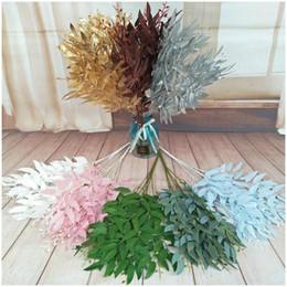 vestuário de fita de cetim Desconto Artificial Leaves Bouquet Falso Willow selva Fundo de casamento Decoração Faux Folhagem Vine festa de Natal Home Decor Planta Xmas