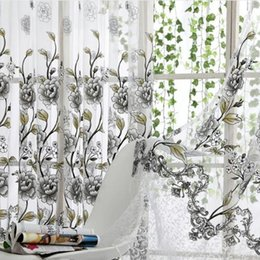 Sciarpa blu fiore online-Home Office Window Curtain Flower Stampa Divisorio Tulle Voile Drape Panel Sheer Scarf Valances Tende Home Decor