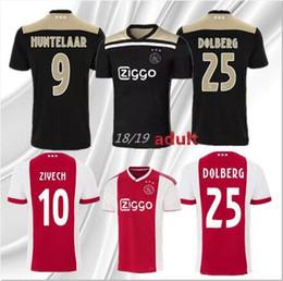 fe0d5ae0085 Top quality 2018 2019 Ajax FC Soccer Jersey 9 Huntelaar 10 ZIYECH 25  Dolberg NERES SCHONE 34 Nouri 18 19 Ajax Football Shirt kit with socks