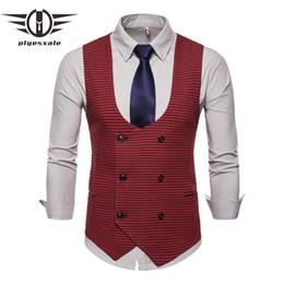 Зеленая клетчатая рубашка онлайн-2019 New Classic Houndstooth Plaid Men Vests Vintage Green Red Gray Wedding Vest Men Double Breasted Sleeveless Jacket Q571