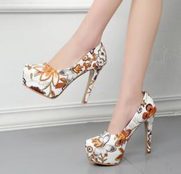 Весенние цветущие цветы онлайн-Женщины Смешанный Цвет Цветочный Печати Платформа Тонкие Туфли На Каблуках Весна Осень Платье Обувь Обувь Насосы Женская Мода Элегантный Партия Обувь Плюс Размер