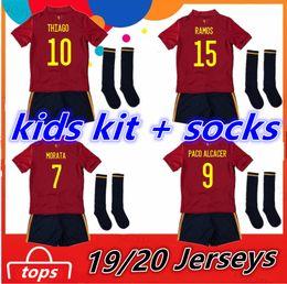 Spanische socken online-2020 Spanien Kinder kit + Socken Fußball-Trikot 20 21 camiseta de fútbol SERGIO A.INIESTA MORATA ASENSIO ramos SILVA isco Fußballhemden Set