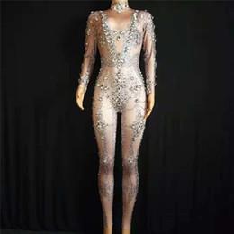 Modelo ds on-line-E26 Feminino prom pole dance trajes palco usa dj ds bodysuit diamantes jumpsuit modelos vestido desempenho show outfits bar desgaste bodysuit ds