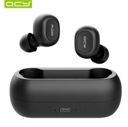 Auriculares qcy online-QCY T1 T1C QS1 TWS Auricular inalámbrico Bluetooth 5.0 HiFi Mini 3D Estéreo Auriculares de sonido Llamada bilateral Auriculares de música con caja de carga