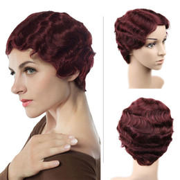 human hair styles for black women Coupons - 2019 New Arrival 100% Brazilian Human Hair Wig Flapper Hairstyles for Women Finger Wave Wig Retro Style Short Human Hair Wigs Natural Wave