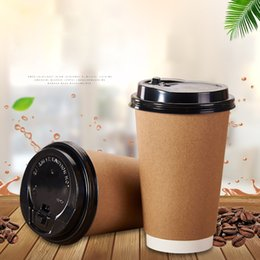 Disposable Takeout Coffee Cup Kraft Paper Cartoon Coffee Sleeve Heat Insulation Hot Drink Mug Takeaway Wrapper Christmas Cup Set