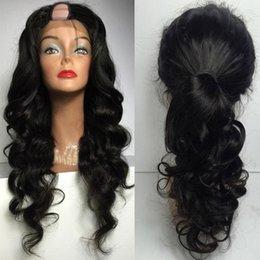 Pelucas brasileñas en forma de u online-Sin procesar Virgen brasileña Onda del cuerpo Cabello humano U pelucas parte Remy Upart peluca peluca en forma de U media para mujeres negras