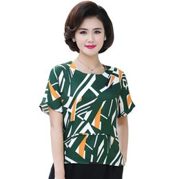 middle aged plus size clothing Coupons - O-Neck Printed T Shirt Short Sleeve Chiffon Tops For Women Tee Shirts Femme 2019 Summer New Plus Size Middle Age Mother Clothes