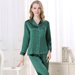 79f50e34db CEARPION Spring Summer New Women 2pcs Shirt+pant Nightwear 100% Silk Solid Pajamas  Suit Casual Daily Home Clothes Sleep Wear