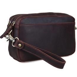 Brauner handybeutel online-Multifunktions Mann Make-up Taschen braun aus echtem Leder Clutch Bag mit Wallet Pouch Handytasche für iPad mini LX40452