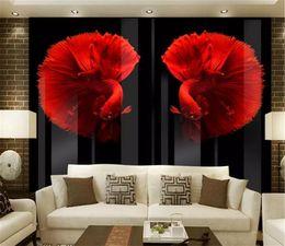 Papel de parede personalizado on-line-Foto Papel De Parede HD Em Relevo Retro Moderno Personalizado Peixe Vermelho Sala de estar Quarto Fundo Papel De Parede de Parede decoração da sua casa