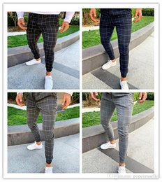 checked pants men Promo Codes - Mens Designer Jeans European and American Checked Printed Mens Casual Stretch Pants Fashion Street Mens Pants