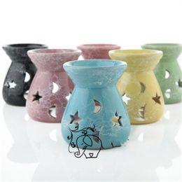 2019 candele carine Carino Profumo Lampade Ceramica Moon Star Hollow bruciatore di incenso di candela Olio Essenziale Stufa per i regali di casa per il desktop 3 2yc E1 candele carine economici