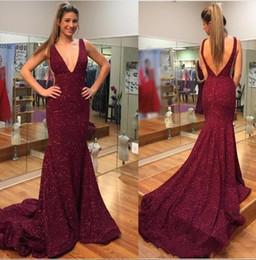 df4aeaf0c Sexy Borgoña Vino Rojo Sirena Vestidos de noche Profundo escote en v de  lentejuelas encaje sin espalda vestido largo de fiesta Vestido De Festa  BC1105 ...