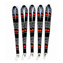 Collo per le chiavi nere online-Amo la cordicella del collo di stili di JESUS per le cinghie della catena chiave della carta di identificazione del telefono cellulare MP3 / 4 Modo nero Buona qualità