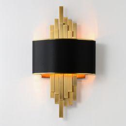 salotti da salotto Sconti Applique da parete oro Apparecchi di illuminazione Camera da letto Soggiorno Lampada da parete paralume nero Lampada da parete a LED AC90-260V