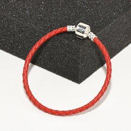 2019 bracelets en cuir rouge pour hommes bijoux de luxe designer mens bracelets chaîne en cuir rouge à la main boîte d'origine pour Pandora 925 fermoir en argent Sterling charme enfants bracelets bracelets en cuir rouge pour hommes pas cher