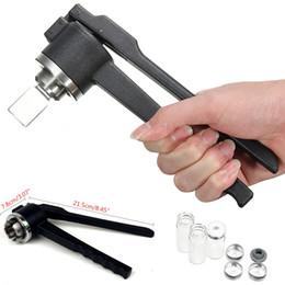 máquina cortadora Rebajas 20 mm A Manual de acero inoxidable Vial arrugador Máquina de sellado a mano Crimping Flip Off Caps Botella Glándula abrazadera con 3 unids Viales de vidrio