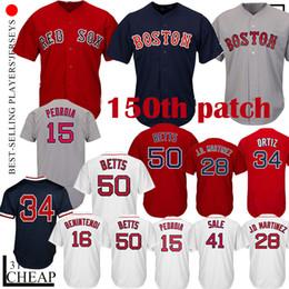 50 Mookie Betts 34 camiseta David 34 Ortiz Boston 9 Ted Williams 16 Andrew Benintendi 28 J D Martinez J.D. Maillot rojo Sox 41 Chris Rebajas desde fabricantes