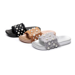 e7edf038a2f flache schuhe schnürsenkel für damen Rabatt Sommer Mode Perle Spitze Frauen  Sandalen Breite Flache Slippery Sandalen
