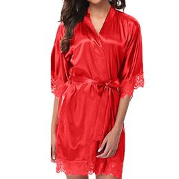 Trajes de noche de raso online-MUQGEW sexy vestido de noche ropa de dormir de seda de las mujeres albornoz de las mujeres de encaje sexy ropa de dormir ropa de dormir de satén ropa interior pijamas traje # Y3