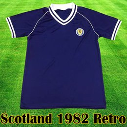 Camiseta de futbol de escocia online-Scotland Escocia Retro 1982, equipo de camiseta de fútbol, kits caseros azules 1982 1983 ESCOCIA camiseta de fútbol retro tops