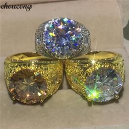 choucong Luxury Male Vintage anello Big 10ct 5A zircone pietra giallo oro Filled Party Wedding Band anelli per gli uomini Gioielli dito supplier yellow zircon stone da pietra di zircone gialla fornitori
