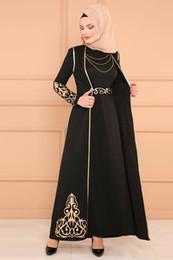 2019 noble vestido real Islámico musulmán Maxi túnica larga Mujeres Oriente Medio Estampado dorado Vestido de sirena Dubai Arab Ropa Abaya Vestido de noche turco con chaleco