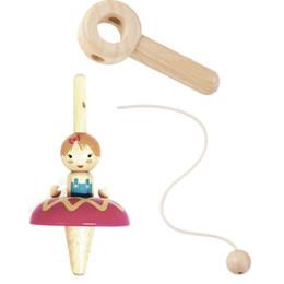 2019 peças de brinquedo de metal De madeira Rotary Puxar Princesa Giroscópio Ballet Menina Desktop Infantil Brinquedos Do Jardim de Infância Novidade brinquedo barato brinquedos de Aniversário Girando Top Presente