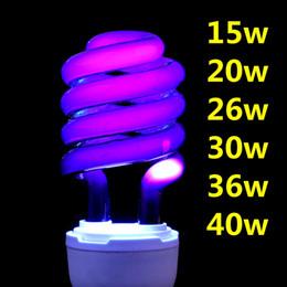 Lámpara de luz cfl online-220V E27 15-40W Bombilla de luz ultravioleta UV Fluorescente ultravioleta Bombilla CFL Bombilla espiral Ahorro de energía Negro Luz violeta Lámparas Iluminación