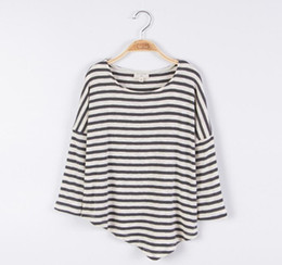 5c6fcd0bdf9 Spring 2019 Big Girl Striped T-shirts Teenager Fashion Casual Jumper Tops  Junior Cotton Tees baby clothes