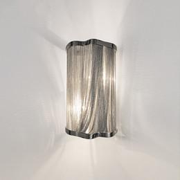 2019 soportes de pared de iluminación Cadena de aluminio moderna lámpara de pared lámpara de pared lámpara de pared soporte para pasillo Pasillo Porche luminaria Apliques de plata luces soportes de pared de iluminación baratos