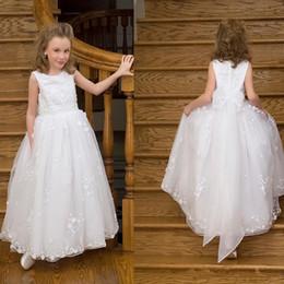 O laço branco elegante vestido de princesa Bela Flor menina vestido para o casamento crianças da Primeira Comunhão Vestidos sem mangas Foraml Wears de