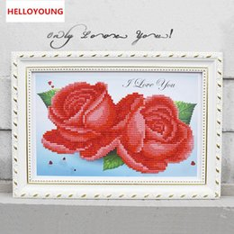 diamante diy rosas pintura Desconto YGS-101 DIY 5D Diamantes Bordados Roxo Red Blue Rose Cubo Mágico Rodada Pintura Diamante Cross Stitch Kits Diamante Mosaico