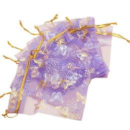 Canada 100pcs 10x12cm Violet Papillon Imprimer Cadeaux Sacs Emballage De Bijoux Embrayable Sacs en Organza Pour La Fête De Mariage Sacs Pochettes Offre