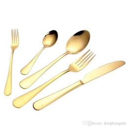 Cor de ouro 5 pc / set talheres conjunto talheres talheres faca garfo colher de chá colher de chá de acessórios de cozinha para festa de casamento em casa wn115C de