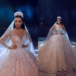 2019 flores naturais bolas 2019 luxo dubai árabe novo laço vestido de baile vestidos de casamento mangas compridas 3d flores beading vestidos de noiva vestido de noiva flores naturais bolas barato
