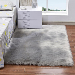 living room mats rugs Coupons - Plush Soft Shaggy Alfombras Carpet for Living Room Faux Fur 200*300CM Large Area Rug for Bedroom Non-slip Floor Mats Home