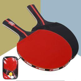2 unids / lote Tenis de Mesa Raqueta de Murciélago Doble Cara Espinillas En Manga Corta Larga Ping Pong Paddle Raqueta Set Con Bolsa 3 Bolas desde fabricantes