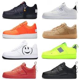 2019 pacote plano 1 Utilitário Preto Branco Um designer de sapatos tênis de corrida das mulheres dos homens fazem pack preto branco obsidian plana alta plataforma formadores sapatilhas pacote plano barato