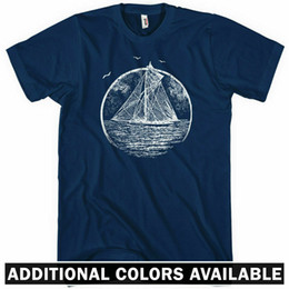 sailing shirts Promo Codes - Vintage Sailboat T-shirt - Men S-4X - Gift Sailing Boat Sails Ocean Sea Marina
