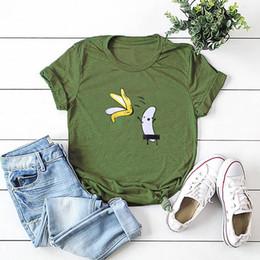 Top nackte frauen online-Beiläufige Baumwolle Funny T-Shirt Frauen Naked Banana Cartoon Print Short Sleeve O-Neck T-Shirt Frauen-nette T-Shirt Femme Sommer Tops