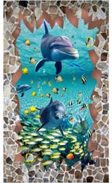 2019 pavimento pintado Pintura 3d piso impermeável murais do Mediterrâneo mundo Subaquático 3D piso Pintura Adesivos de Parede Personalizado foto papel de parede desconto pavimento pintado
