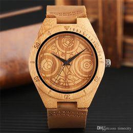 Legno totem online-Raffreddare unisex orologio da polso in legno Unico Dr. Who Magical Totem Dial Trendy Uomo Donna Orologio in legno TV speciale Fans Regali Bamboo Clock
