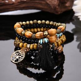 Bracelets en bois en Ligne-Gratuit DHL Nouveau Style Bois Perlé Bracelet Arbre De La Vie Wrap Bracelets Tassel DIY Bracelets Yoga Charme Bracelet À La Main Bijoux Bijoux G107S Y